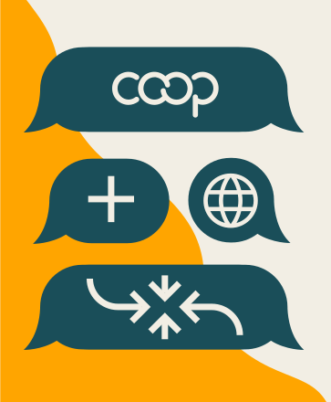 The central illustration - it displays the topics of their conversation. Including the Coop logo, a plus sign and a globe.