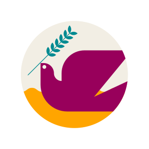 An illustration of a dove holding an olive branch.