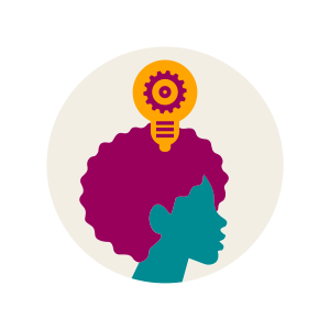 An illustration of a light-bulb above a person's head.